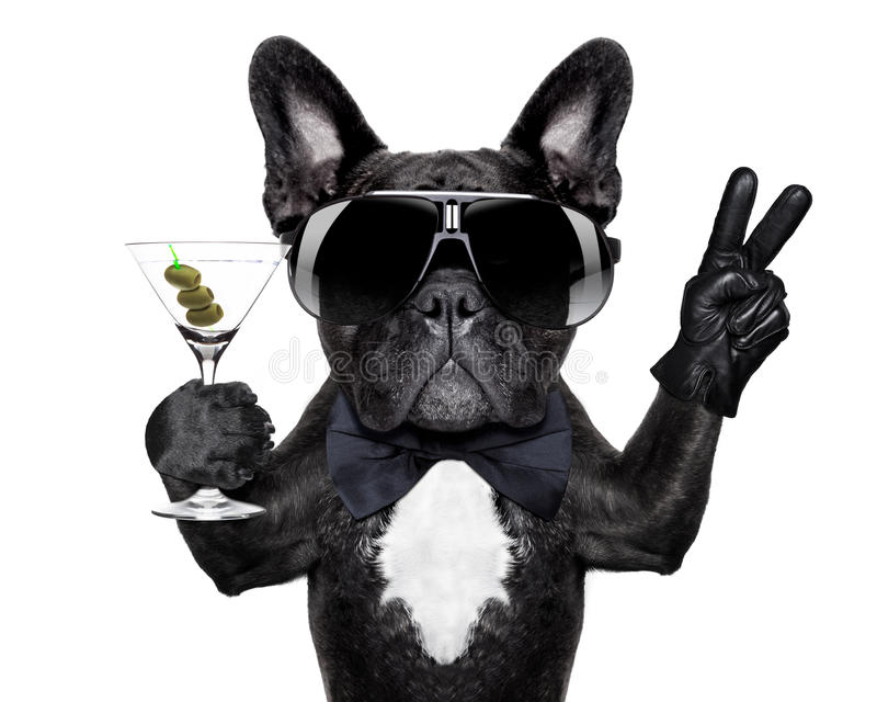 Peace cocktail dog. Dog with martini cocktail and victory or peace fingers
