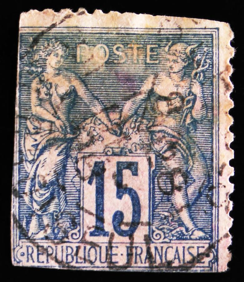 Peace and Commerce gods, circa 1892. MOSCOW, RUSSIA - APRIL 2, 2017: A post stamp printed in France, shows Peace and Commerce gods, circa 1892 royalty free stock photos