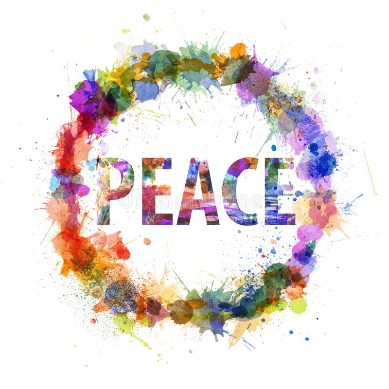 Peace Concept, Watercolor Splashes As A Sign Stock Image