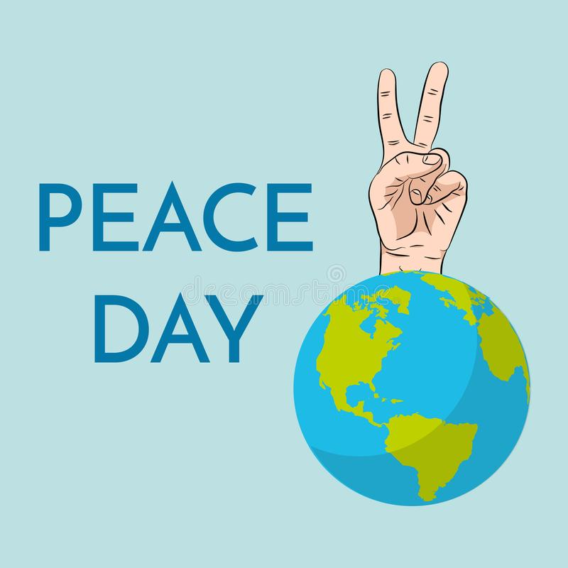 Peace Day, concept. September 21 International Day of Peace. Gesture of the hands, two fingers, symbol. Vector stock illustration