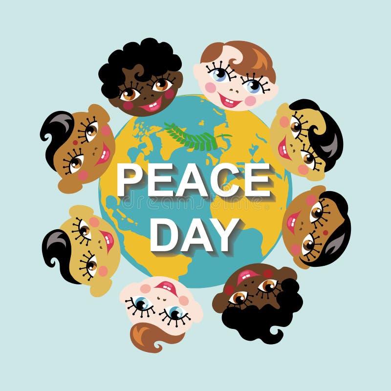 Peace day.Earth globe,children of various nation stock illustration