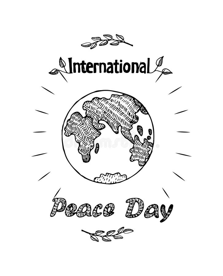 Free Peace Day International Holiday Poster With Earth Royalty Free Stock Photography - 104452287