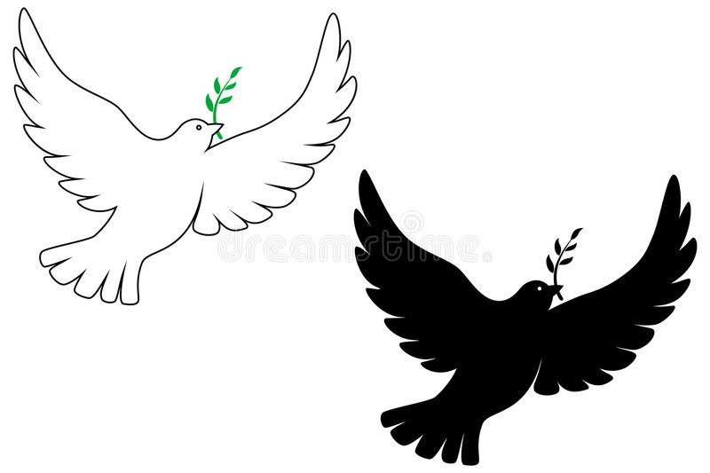 Peace dove. Vector drawing with silhouette