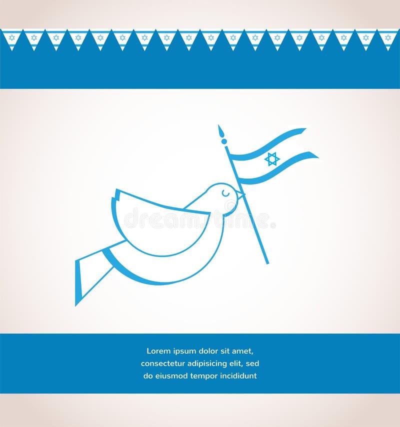 Peace dove holding Israeli flag. Independence day royalty free illustration