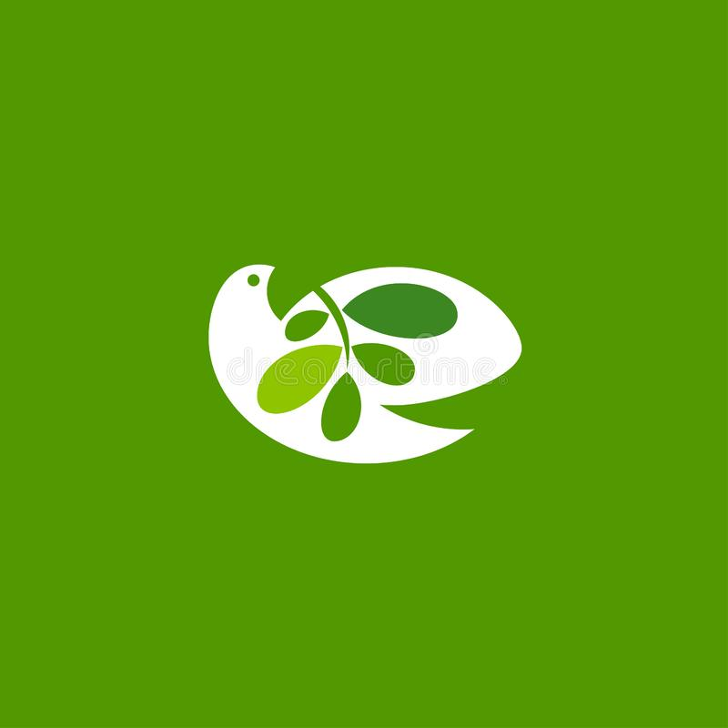 Peace dove with olive branch on green background. Vector logo vector illustration
