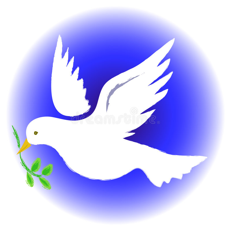 Peace Dove Round. Illustration of a dove carrying an olive branch. symbolizing peace