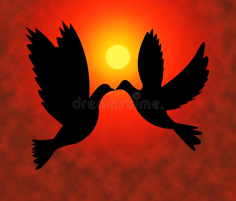 Peace Doves Represents Flock Of Birds And Pacifist stock illustration