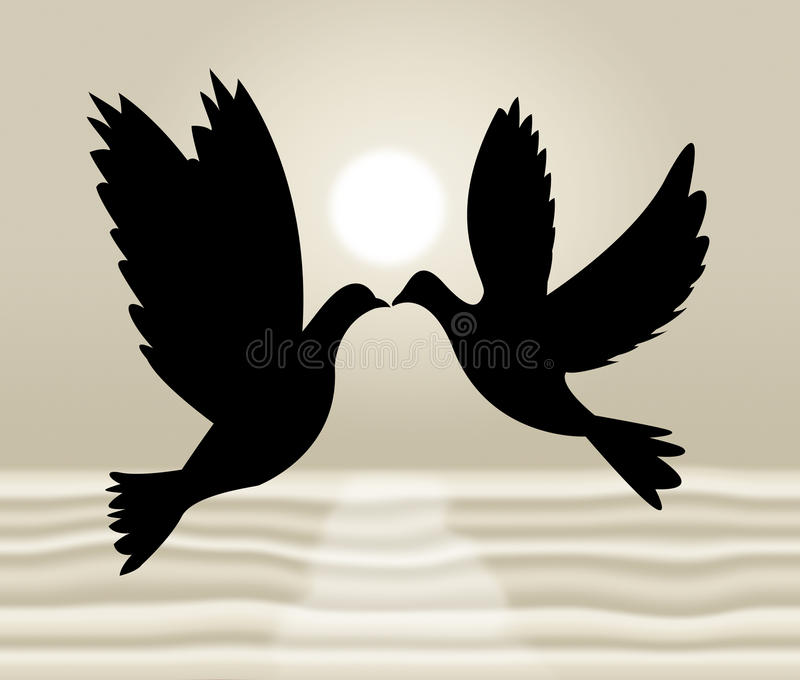 Peace Doves Shows Flock Of Birds And Wildlife royalty free illustration