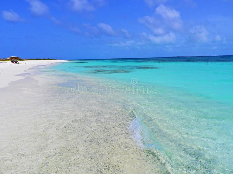 Caribbean sea, Los Roques. Vacation in the blue sea and deserted islands. royalty free stock photography