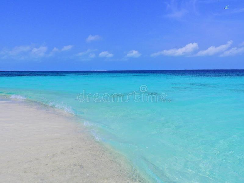 Caribbean sea, Los Roques. Vacation in the blue sea and deserted islands. royalty free stock photo