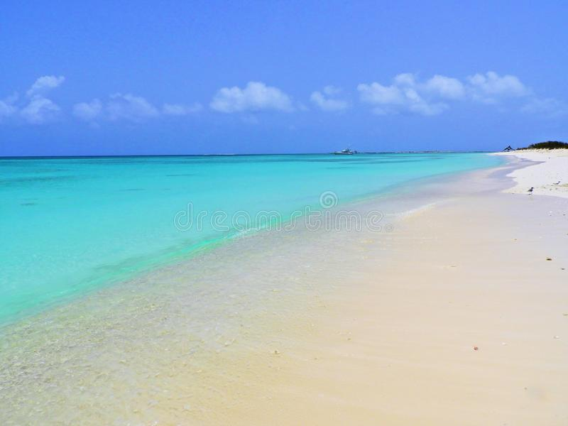 Caribbean sea, Los Roques. Vacation in the blue sea and deserted islands. stock images