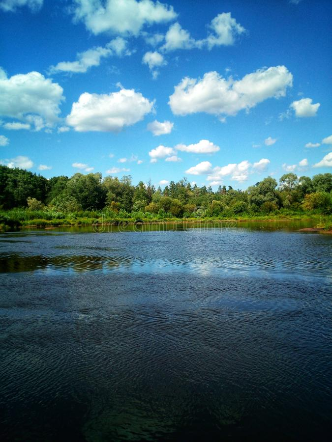 Peace on Earth. River, clouds, lansdscape, silence stock photography