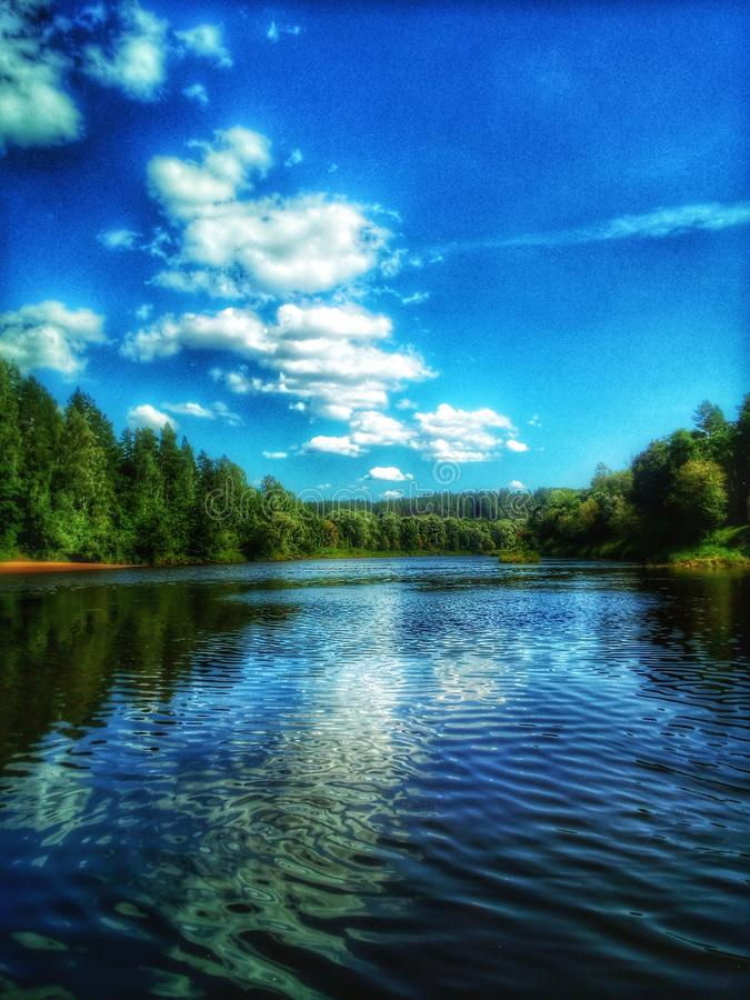 Peace on Earth. River, clouds, lansdscape, silence stock image
