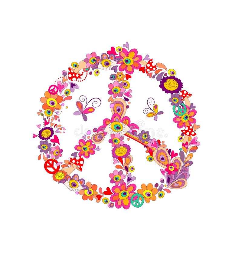 Peace Flower Symbol With Abstract Flowers Mushrooms And Eyes Stock
