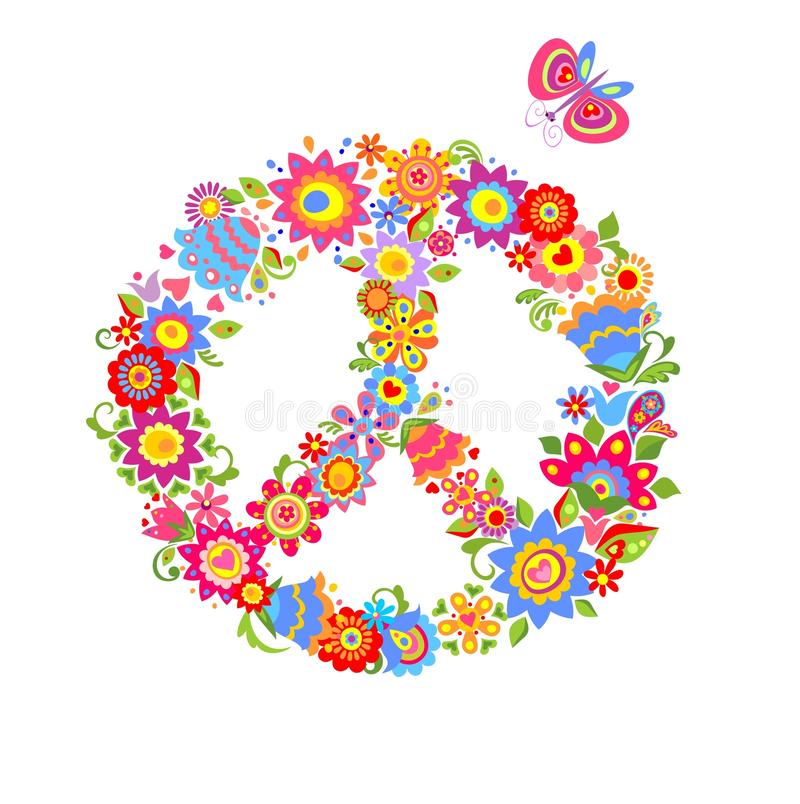Peace Flower Symbol With Colorful Funny Flowers Stock Vector