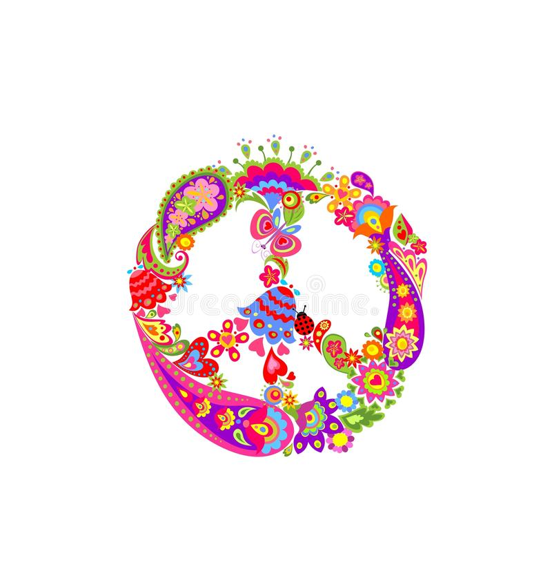 Peace Flower Symbol With Ethnic Floral Colorful Print And Paisley