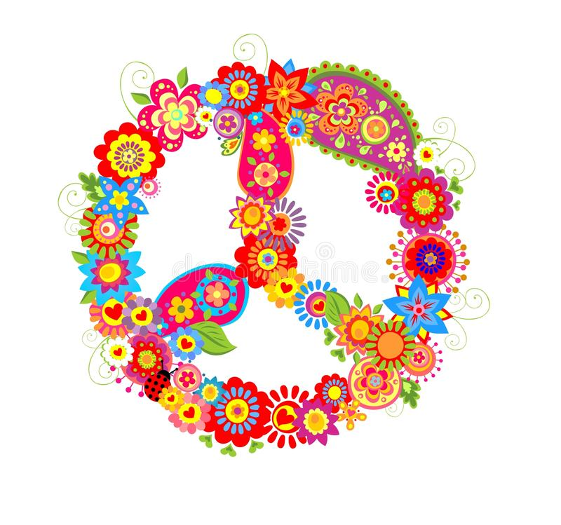 Peace Flower Symbol With Poppies And Paisley Stock Vector