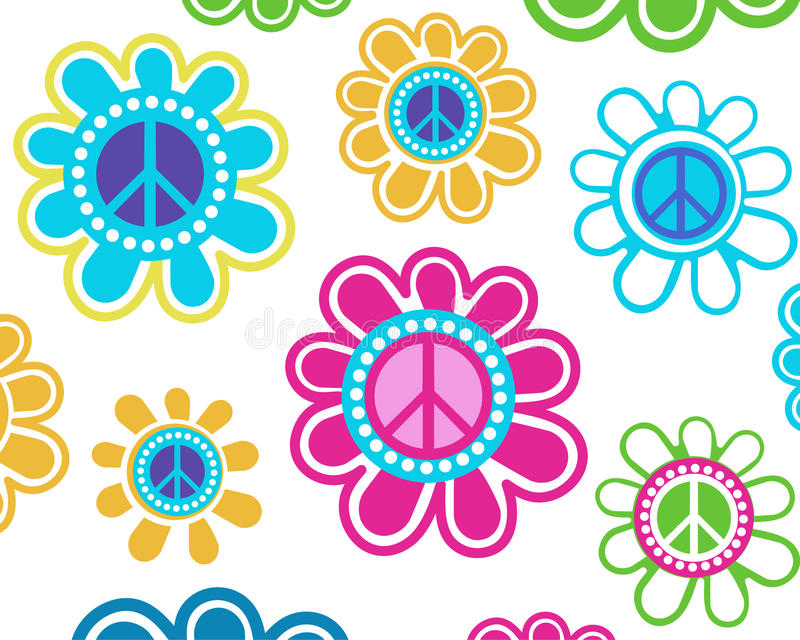 Peace flowers. Funky peace flowers over blank background- access swatch for seamless pattern vector illustration