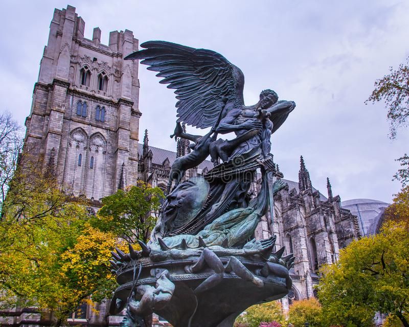 Peace Fountain, Church of St John of the Divine in New York City. stock images