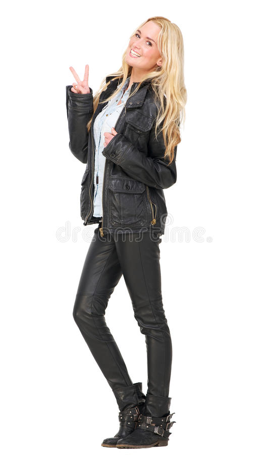 Download Peace Girl stock photo. Image of gesture, leather, hair - 28617918