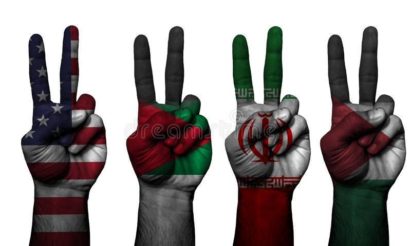 Peace hand symbol 4 countries stock image