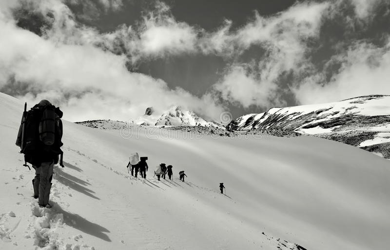 Winter landscape on the mountain. Hikers, snow, peace at high altitude - Erciyes volcano, landmark attraction in Turkey. Winter landscape. Hikers, snow, peace on stock images