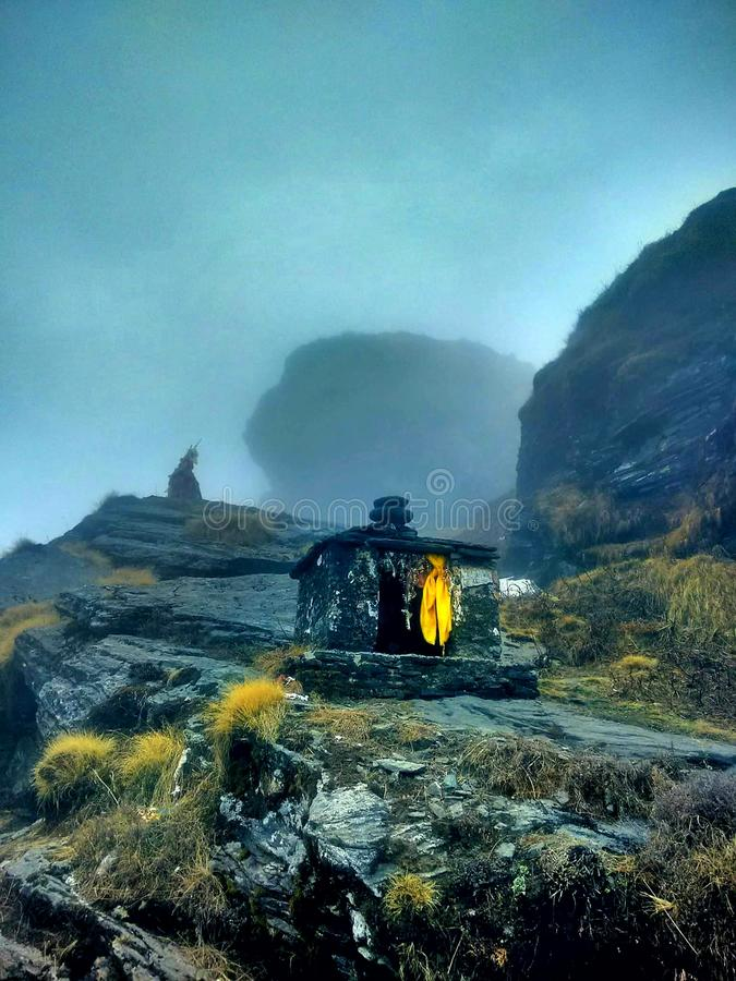 Peace in himalayas...!!!!. Fog, weather, spiritual royalty free stock photo