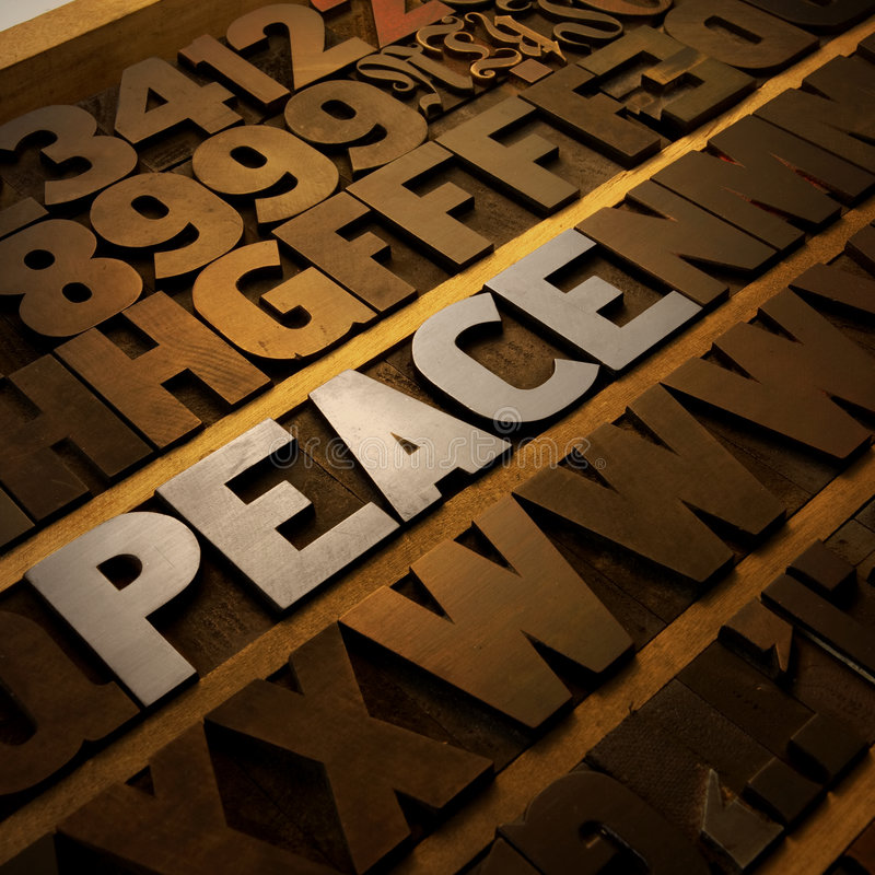 Free Peace In Letterpress Royalty Free Stock Images - 8913859