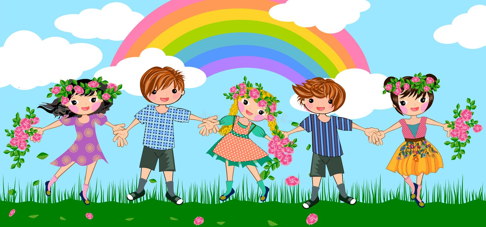 Peace and joy. Little children in their happy face illustrations concept