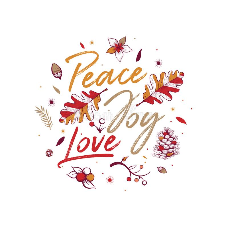 Peace Joy Love Special Christmas Design Stock Vector Illustration Of Calligraphy White 129435532