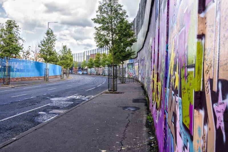 Peace Wall in Belfast, Northern Ireland stock photos