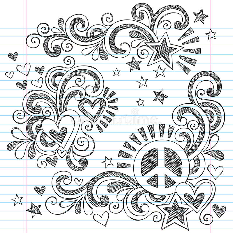 Peace and Love Back to School Sketchy Notebook Doodles Vector Illustration vector illustration