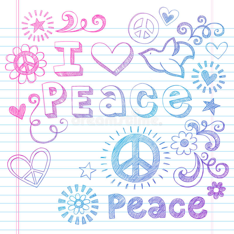 Download Peace Love And Dove Sketchy Doodles Vector Stock Vector - Illustration: 26109860