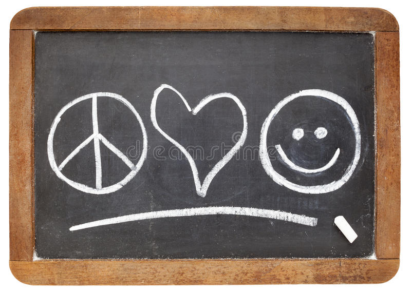Peace, love and happiness royalty free stock photography