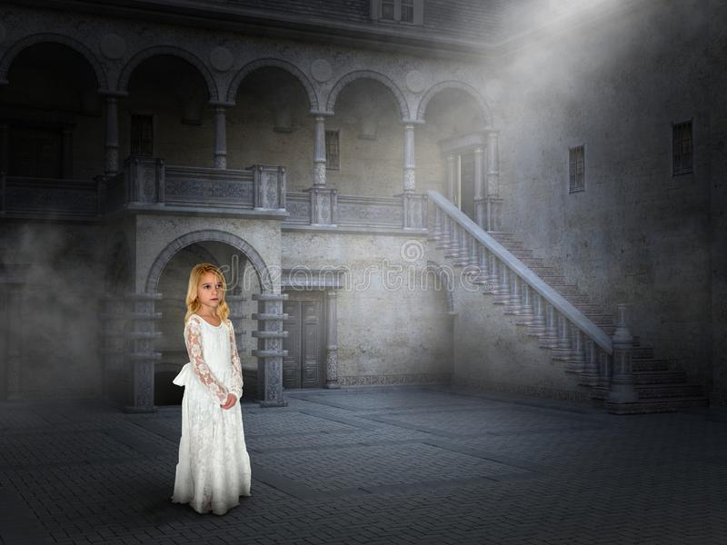Peace, Love, Hope, Imagination, Fantasy. A young girl uses her imagination to be in a castle courtyard in a surreal scene. Abstract concept for peace, hope, love royalty free stock photography