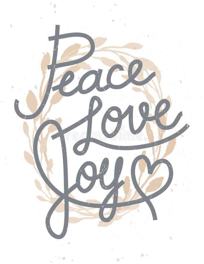 Download Peace, Love, Joy Christmas Lettering Quote With A Golden Wreath  Stock Vector
