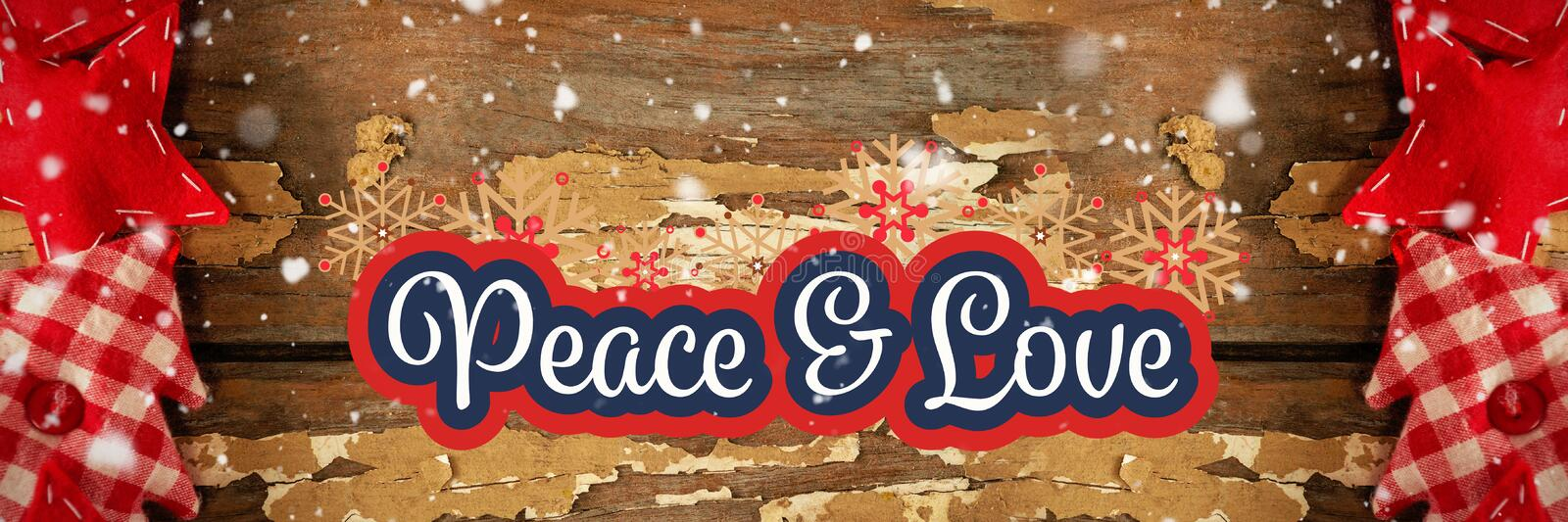 Peace and love message on winter background. Digital composite of Peace and love message on winter background stock photo