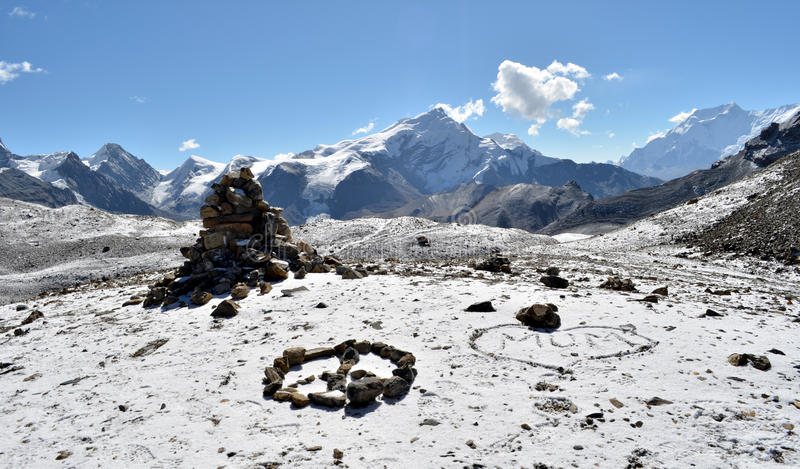 Peace&love on 5416 meters stock image