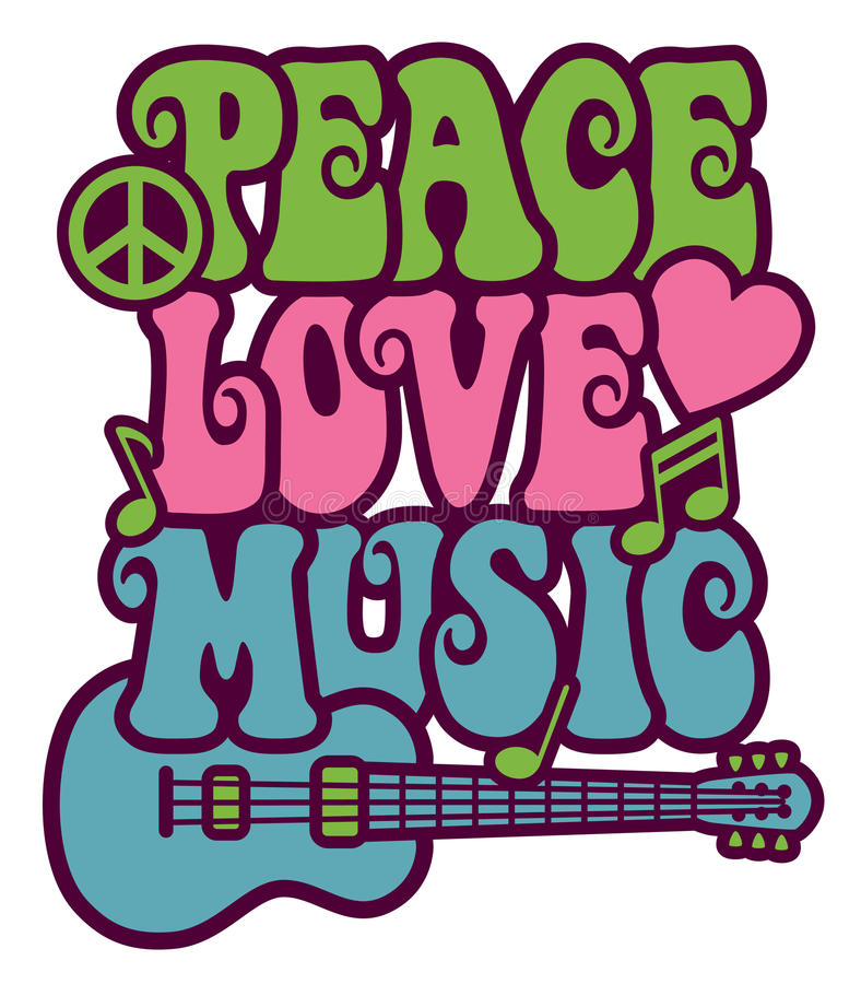 Peace Love Music royalty free illustration
