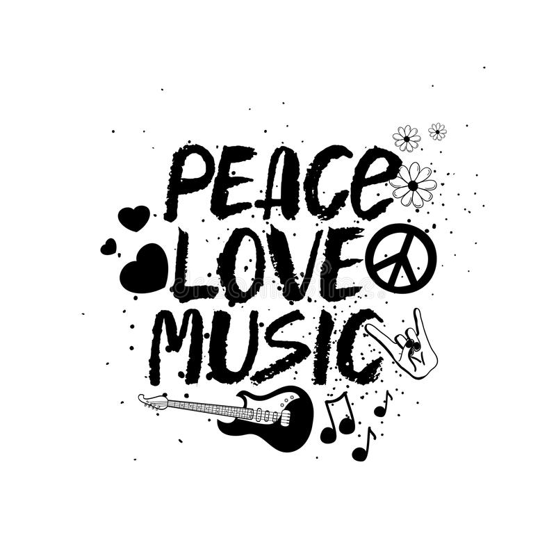 Peace Love Music Hand Drawn Lettering Stock Vector Illustration