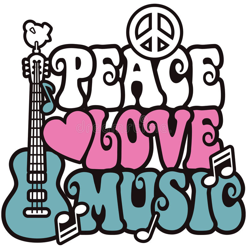Peace-Love-Music_Pink and Blue royalty free illustration