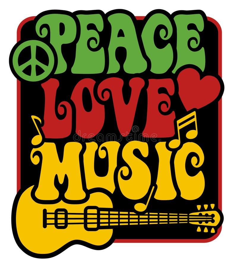Peace-Love-Music_Rasta颜色 库存例证