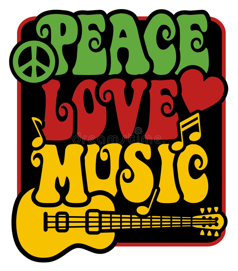 Free Peace-Love-Music_Rasta Colors Stock Photo - 20494510