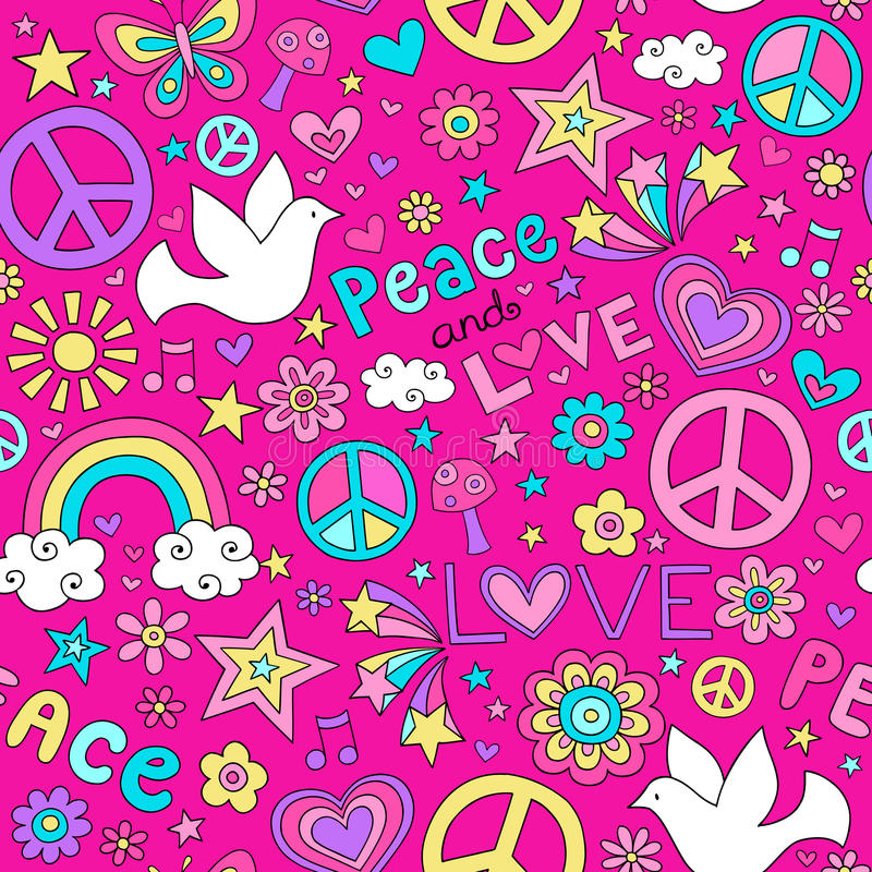 Peace And Love Seamless Pattern Vector Stock Photography