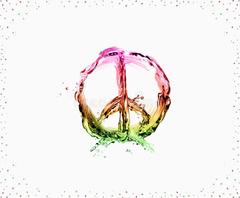 Peace and Love. The peace & love symbol made of multicolored liquid on white and framed with bubbles stock photos