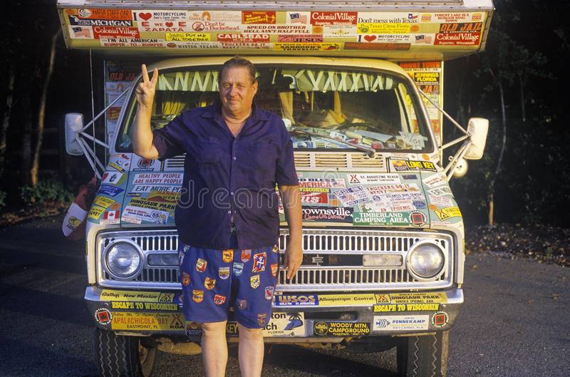 A peace lover and his truck in Key West, Florida stock image