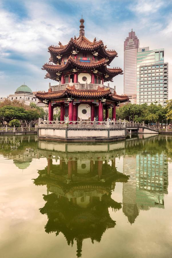 The 228 Peace Memorial Park in Taipei, Taiwan. Pavilion or pagoda of Chinese architecture at the 228 Peace Memorial Park in Taipei, Taiwan stock images