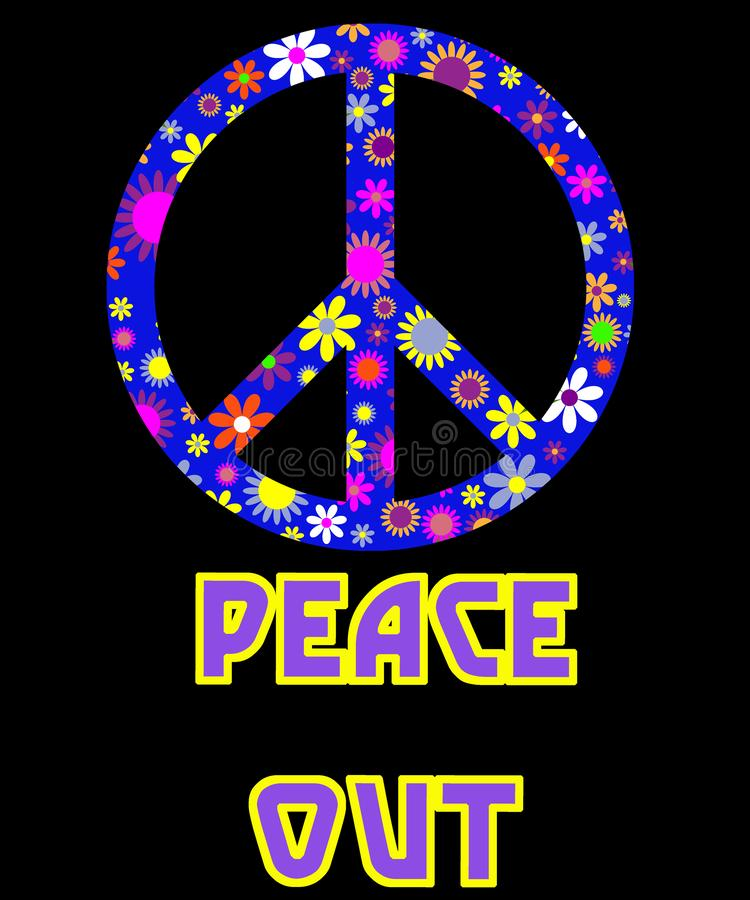 Peace Out hippy graphic design. Peace out in a vintage retro with flowers and wild colors in the graphic with a black background.  Would make a cool wall art vector illustration