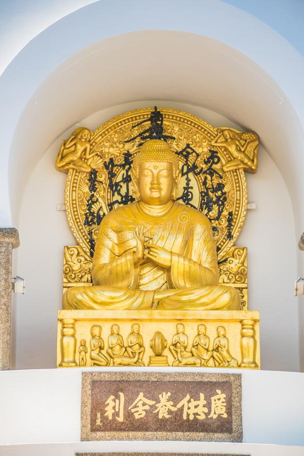 The Peace Pagoda on sunny spring day in Vienna, Austria. The Peace Pagoda Vienna is a Buddhist stupa located on the Danube in Vienna. It is one of around 80 stock photography