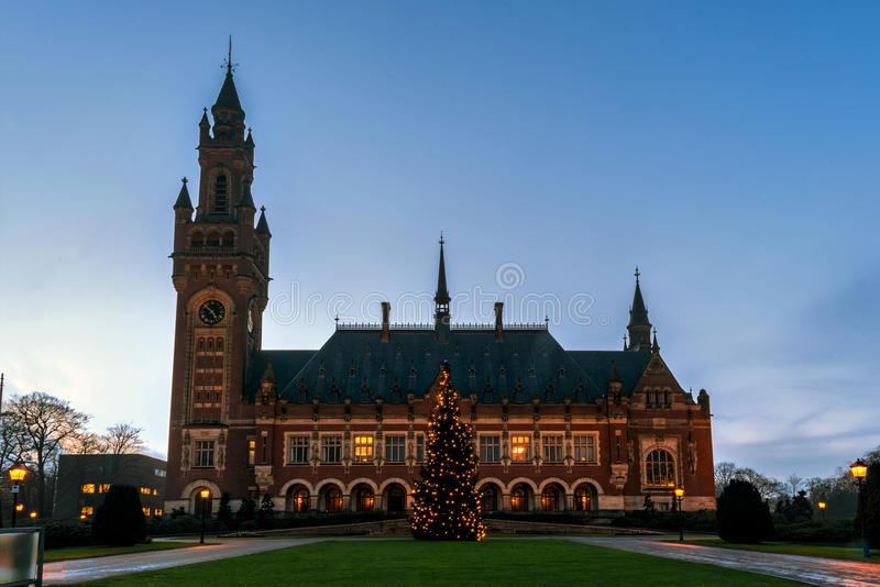 Peace Palace Christmas tree at Blue hours stock photography